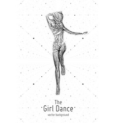 dancing girl constructed with lines and vector image