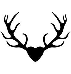 Deer antlers silhouette isolated on white vector