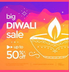 diwali sale banner with stylized oil lamp vector image