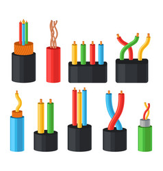 electrical cables set multicore cables in color vector image