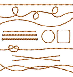 fiber ropes straight brown realistic threads vector image