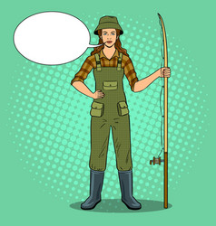 Fisherman girl pop art vector
