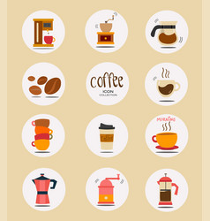 Flat coffee stuff icon collection vector