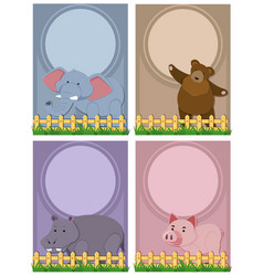 Four background template with cute animals vector
