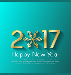 Golden new year 2017 concept on cyan background vector
