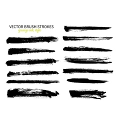 Grunge ink brush stroke set Abstract freehand vector