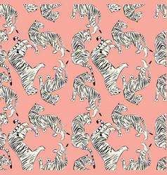 hand drawn tiger seamless pattern big cats vector image