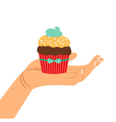 hand holding chocolate cupcake gift vector image