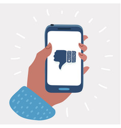 hand holding smartphone with thumb down on screen vector image