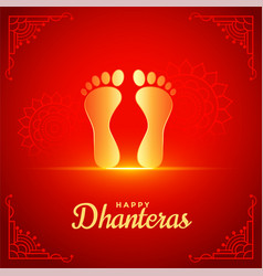 Happy dhanteras red background with golden god vector