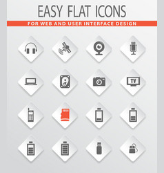 hi tech icons set vector image