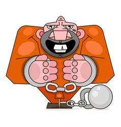 Isolated imprisoned man in orange uniform on white vector
