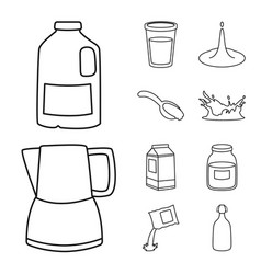 Isolated object food and dairy icon collection vector