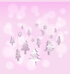 isomatic 3d christmas tree ornaments hanging rope vector image