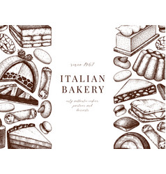 italian desserts pastries cookies menu design vector image
