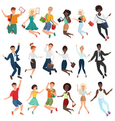 jumping and dancing happy young people in casual vector image
