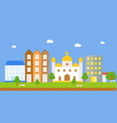 landscape with masjid and building flat icon vector image