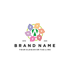 Letter w leaf colorful logo design and business vector