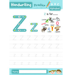 Letter z uppercase and lowercase cute children vector