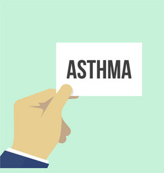 man showing paper asthma text vector image