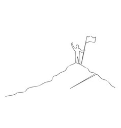 man with flag on mountain success leadership one vector image