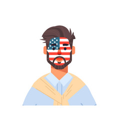 man wuth united states flag face painted vector image