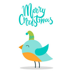 merry christmas greeting card with tiny bird hat vector image
