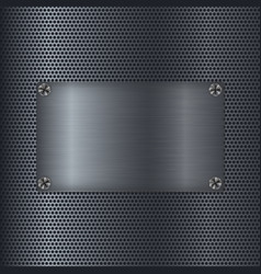 Metal perforated texture with square steel plate vector