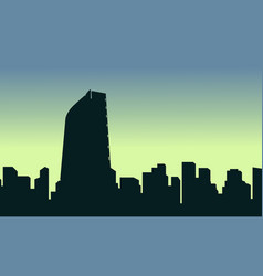 mexico city scenery silhouettes at sunrise vector image