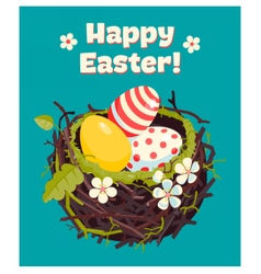 Nest with eggs and spring flowers vector image