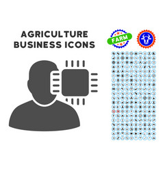 Neuro interface icon with agriculture set vector