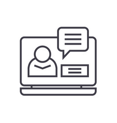 online conference linear icon sign symbol vector image