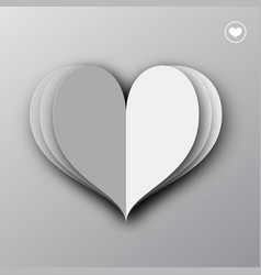 paper heart origami empty valentines day greeting vector image