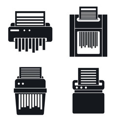 Paper shredder icons set simple style vector