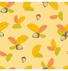 Pattern with small oak leaves and acorns-01 vector