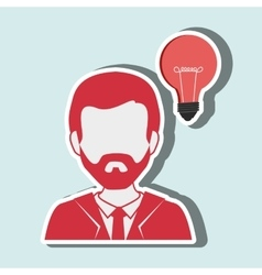 person and bulb design vector image
