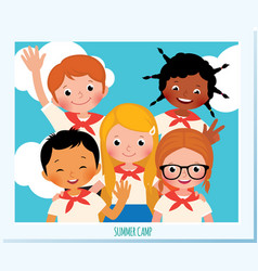 polaroid photo group of happy children vector image