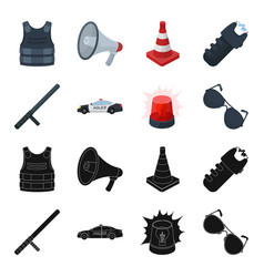 Police baton auto flasher glassespolice set vector