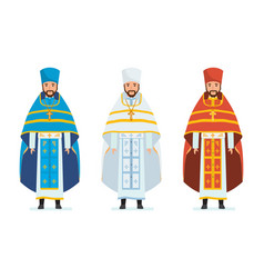 religious priests in beautiful spiritual cassocks vector image