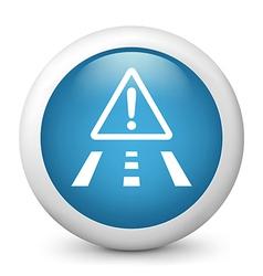 Road Hazard Glossy Icon vector image