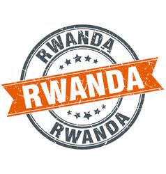 Rwanda red round grunge vintage ribbon stamp vector