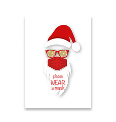 santa claus head label wears surgical mask concept vector image