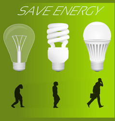 Save energy concept evolution from incandescent vector