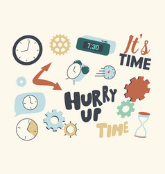 set icons clock and time alarm clock vector image
