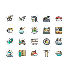 set japanese food color line icons ginger vector image