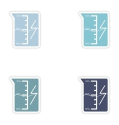 Set of paper stickers on white background beaker vector