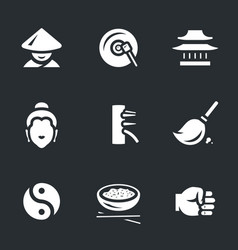 Set of shaolin icons vector
