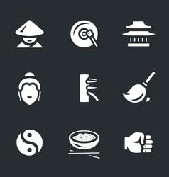 set shaolin icons vector image