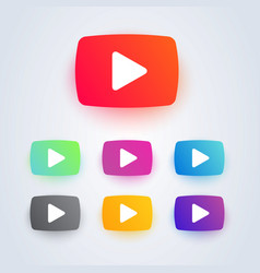 set video play button icon in different colors vector image