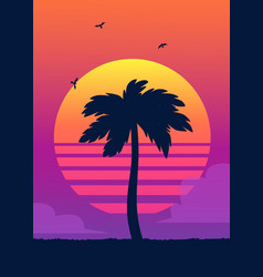 silhouette of tropical palm tree on the background vector image